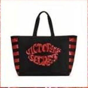 Victoria's secret red black sequins tote bag lips